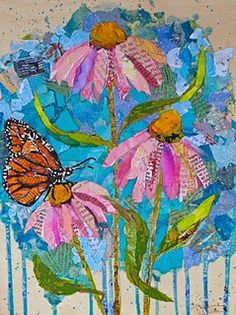 """Wildflowers #2"" Collage on cradled panel - Elizabeth St. Hilaire Nelson"