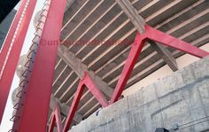 Candlestick Park Art Photograph - Classic Red Support Beam by untouchedtcphotos on Etsy