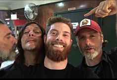 Norman Reedus, Jeffrey Dean Morgan, Andrew Lincoln, and fan
