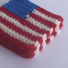 American Flag Crochet Coasters - Set of 4 Patriotic Red White and Blue Coasters Primitive Americana Flag. $15.00, via Etsy.