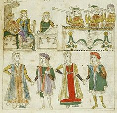 Fasciculus temporum Italy, Naples, ca. 1498.Cronaca della Napoli Aragonese: Scene, Marriage of Marco Coppolo and Maria Piccolomini -- In miniature of two registers, at upper left, Ferdinand I of Naples, crowned, holding scepter with right hand and globe with left hand, is seated on throne with canopy, his feet on cushion, next to his queen, Joanna of Aragon, crowned, seated on chair. 15th Century Fashion, 16th Century, Renaissance Art, Italian Fashion, Vintage World Maps, Dancer, Images, Scene, Female Clothing