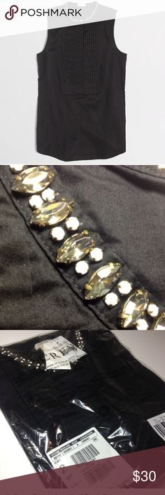 J. Crew Black Jeweled Tank Top Final priceNo Offers  Sooo pretty!!  New with tags and still in manufacturers packaging. Black button up sleeveless tank, with gorgeous jewels on neckline!  All cotton top. Size 8 or Medium. Other sizes also available. No trades. J. Crew Tops Tank Tops