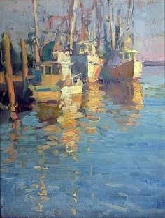 Dawns Early Light by James Richards Impressionist Landscape, Impressionist Paintings, Landscape Paintings, Pastel Landscape, Oil Paintings, Boat Painting, Gouache Painting, Ocean Artwork, James Richards