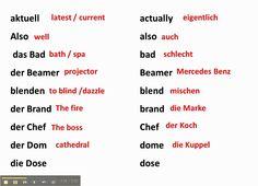 False Friends / cognates between German and English - www.germanforspald...