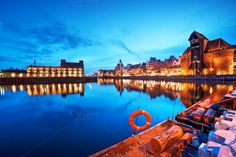 Gdansk old town at night, Poland by Photocreo Michal Bednarek on Creative Market