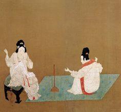 唐-张萱-捣练图2-波士顿博物馆 Painted by the Tang Dynasty artist Zhang Xuan 张萱.