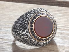925 Silver Man Ring Agate and Onyx Size 10-11-12 Men's Handmade Gemstone Jewelry #IstanbulJewellery #Statement