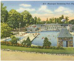 High Point City Lake Municipal Swimming Pool, High Point, N.C. :: North Carolina Postcards 1930's