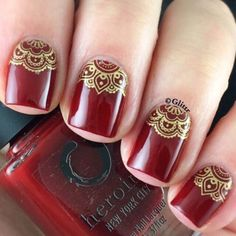 50 Luminous Red and Gold Nail Designs