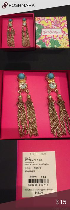 Lilly Pulitzer tassel earrings Brand new! Lilly Pulitzer gold earrings, Make a statement with the Razzle Tassel Earrings. Lilly Pulitzer Jewelry Earrings