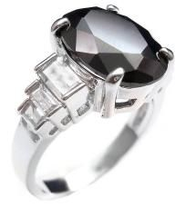 Oval Black and White Cubic Zirconia CZ Ring