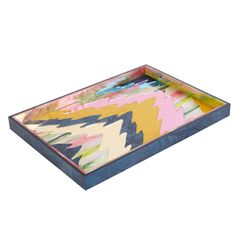 Edie Parker Home Ripple Tray in Navy and Multi-Color Acrylic