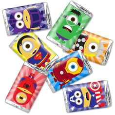 Minions Avengers superhero candy wraps - birthday party favor decor - instant download - fits hershey's miniatures - Thank you