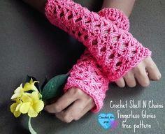 Crochet Shell n Chains Fingerless Gloves   AllFreeCrochet.com