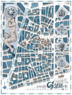 Gotic Poster illustrated by Chamo San. Decorate your wall with this poster of Gòtic neighborhood, the oldest in Barcelona.
