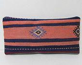 kilim pillow ancient turkish pillowcase geometric pillow case colorful pillow cover retro pillow case primitive pillow case lumbar rug 29157