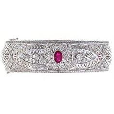 Lace Ruby Diamond Cuff Bangle  USA  21st Century