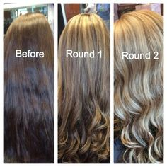 In order to go from brunette to blonde it can take a few rounds...especially if your hair has been colored brown verses it being your natural hair color. Round 2 was done 8 weeks after round 1.