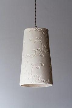 Fancy porcelain hanging lamp by LightfixtureTamar on Etsy Ceramic Light, Ceramic Pots, Ceramic Pendant, Ceramic Pottery, Deco Luminaire, Inside Design, Black Lamps, Mason Jar Lamp, Decorative Bells