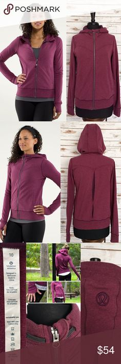 "Lululemon Bliss Break Heathered Plum Hoodie Jacket Soft & cozy Lululemon Bliss Break Hoodie Jacket!  Ready to wear! No stains or holes. Excellent preloved condition.  Color: Heathered Plum/Raspberry Thumbholes. 2 lined front zippered pockets. Lined hood. Stitching design on the elbow.  Lululemon logo on the hood.  Ribbed cuff and hemline. Material: 92% Cotton, 5% Spandex. Approx.Measurements: Length / from back of center neck to bottom hem: 24"" (L) Chest / Underarm to underarm: 19"" (W)…"