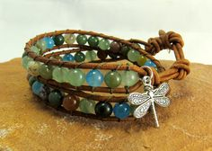 Double wrap agate and leather bracelet designed especially for Adventurous Women by Kim of Wetland Treasures.