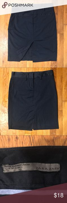 """ZARA Navy Cotton Stretch Skirt Worn only a few times. ZARA brand navy blue cotton and stretch skirt. Perfect for work and very comfortable. Length: 27"""" Size Medium Zara Skirts Midi"""