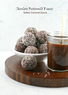 Chocolate Buttermilk Donuts with Salted Caramel Sauce from @Lisa Phillips-Barton Phillips-Barton   Authentic Suburban Gourmet