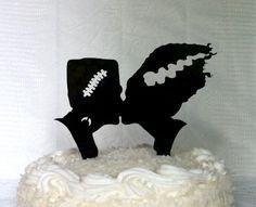 Frankenstein and Bride Silhouette Wedding Cake Topper Monster Halloween Cake…