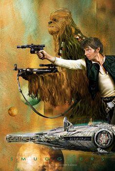 Han Solo and Chewbacca Star Wars Han Star Wars, Star Wars Fan Art, Star Trek, Star Wars Pictures, Star Wars Images, Star Wars Brasil, Cuadros Star Wars, Han Solo And Chewbacca, Star Wars Personajes
