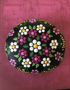 Extra Large Hand Painted Flower River Stone