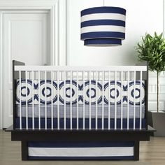 Bedroom Interior Baby Boy Bedding Set On Blue And White Color Design Laid On White And Black Wooden Baby Crib Combination With Fancy Striped Pattern Pendant Lamp With Organic Baby Crib Bedding And Mo Baby Crib Bedding Sets, Crib Sets, Nursery Bedding, Bed Sets, Nursery Room, Black Baby Cribs, Best Baby Cribs, White Cribs, Unisex Baby Room