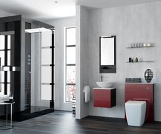 Photo Of Deep Red Tones and Contrasting Wood Finish that Creates an Ultra Modern Minimalist Look With Bathroom FurnitureBathroom