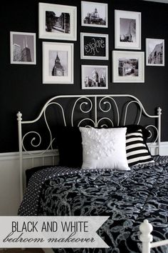 Guest bedroom makeover home decor white bedroom, black white Black White Bedrooms, Bedroom Black, Dream Bedroom, Home Bedroom, Girls Bedroom, Master Bedroom, Girl Room, White Walls, Basement Bedrooms