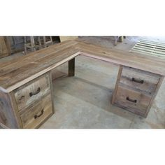 Reclaimed Barn Wood Corner Desk rbwcd1300f ($1,300) ❤ liked on Polyvore featuring home, furniture, desks, bedroom furniture, dressers & armoires, grey, home & living, handmade furniture, recycled furniture and salvaged wood furniture