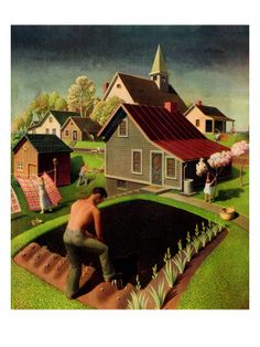 """Steven Biel, who wrote a book about the ironic journey of """"American Gothic,"""" considers the Grant Wood retrospective at the Whitney Museum of American Art. Iowa, Grant Wood Paintings, Modern Paintings, Canvas Art Prints, Painting Prints, Canvas Paintings, Watercolor Paintings, Artist Grants, American Gothic"""