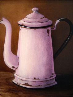 Katie Gobler - Jug x Vintage Pictures, Vintage Images, Vintage Posters, Kitchen Artwork, Hyper Realistic Paintings, Cafetiere, Still Life Art, Enamel Paint, Vintage Coffee