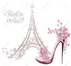 Illustration of High-heeled shoes on the background of the Eiffel Tower Paris Fashion vector art, clipart and stock vectors. Impression Etiquette, Torre Eiffel Paris, Arte Fashion, High Fashion, Foto Poster, Paris Images, Paris Art, I Love Paris, Paris Theme