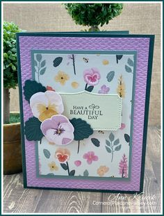 Rubber Stamping, Stamping Up, Pansy Flower, Stamp Sets, Flower Cards, Kids Cards, Pansies, Scrapbook Cards, Homemade Cards