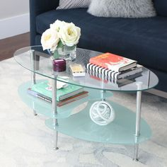 Walker Edison Modern Frosted Glass 38-inch Coffee Table, Clear