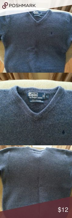 POLO by Ralph Lauren v-neck sweater 100% lambs wool large big boys sweater.  Fits as a medium or small. Polo by Ralph Lauren Shirts & Tops Sweaters