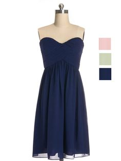 Cute Short Indigo Sweetheart Chiffon Bridesmaid Gown