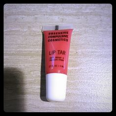 OCC Lip Tar Trollop Swatched with a brush OCC Makeup Lipstick