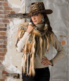 Leopard hat & fur Wrap : )