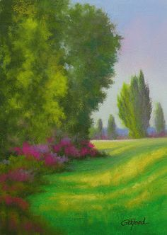 "Paula Ann Ford, Fine Artist: ©2013 Paula Ann Ford, Poplar Park, 7""x5"", soft pas..."