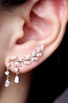 Fancy Ear Piercing Ideas for Women - Crystal Drop Leaf Ear Climber Crawler Earri. - Fancy Ear Piercing Ideas for Women – Crystal Drop Leaf Ear Climber Crawler Earrings – Fancy Ea - Ear Jewelry, Cute Jewelry, Wedding Jewelry, Silver Jewelry, Jewelry Ideas, Wedding Rings, Bridesmaid Jewelry, Infinity Jewelry, Jewelry Case