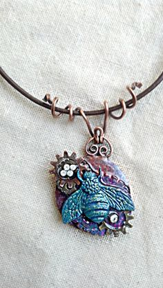 Steampunkinspired Bee Necklace by BlondeJusticeDesigns on Etsy, $40.00
