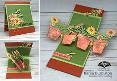 Karen Burniston using the Twist Panel and Flower Pot Pop-up die sets from karenburniston.com