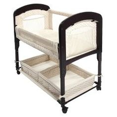 The Cambria Co-Sleeper® bedside bassinet features beautifully curved wooden ends. Like all of our Co-Sleeper® bedside bassinets, the Cambria Co-Sleeper® bedside bassinet allows you and your baby to sleep comfortably next to each other from the moment your Co Sleeper Bassinet, Best Bassinet, Baby Co Sleeper, Bassinet Ideas, Baby Bedside Sleeper, Bedside Crib, Wood Bassinet, Sleeper Chair, Blanket Sleeper