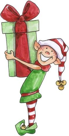 Happy Christmas elf holding a present Christmas Rock, Christmas Canvas, Vintage Christmas, Christmas Crafts, Merry Christmas, Christmas Decorations, Christmas Ornaments, Christmas Gnome, Christmas Graphics
