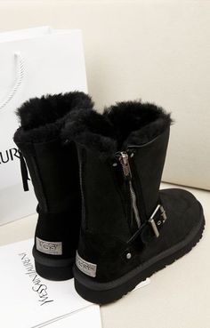 Where to Buy 2015 New Ugg Buckle Boots, Black Ugg Snow Boots, Short Ankle Buckle Snow Boots
